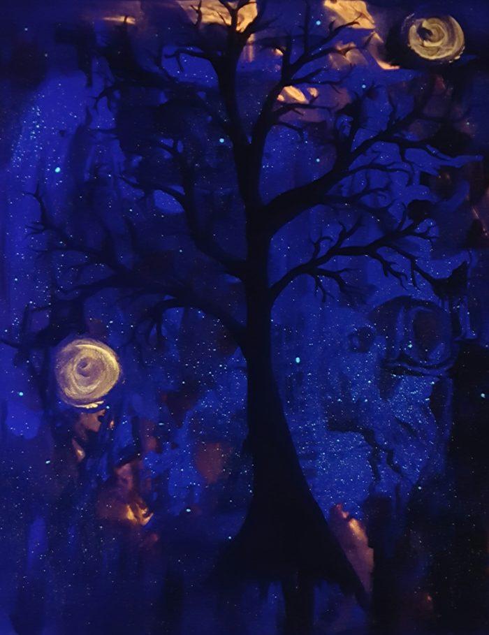 October Tree - glow in the dark painting by Kristy Lewellen