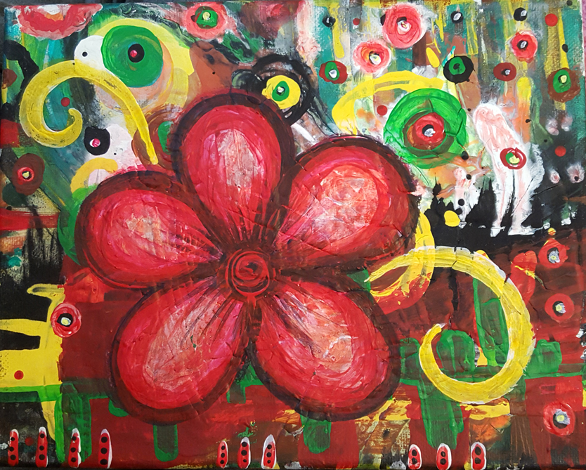 Blooming Red painting by Kristy Lewellen