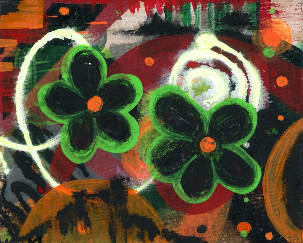 Green Bloom Painting by Kristy Lewellen