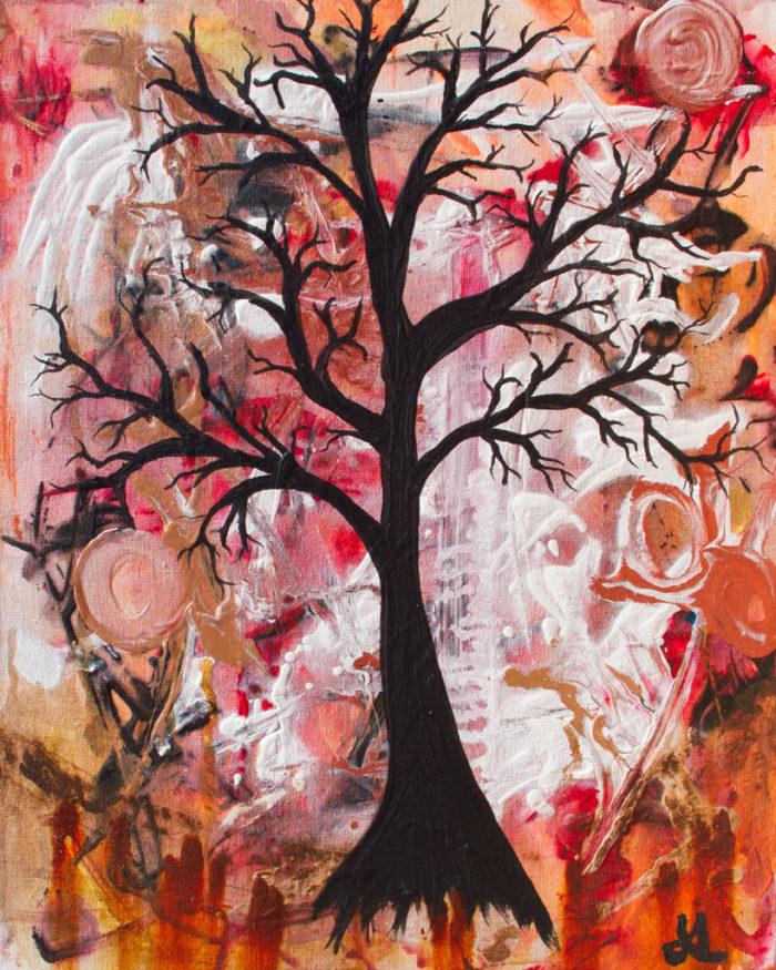 October Tree painting by Kristy Lewellen