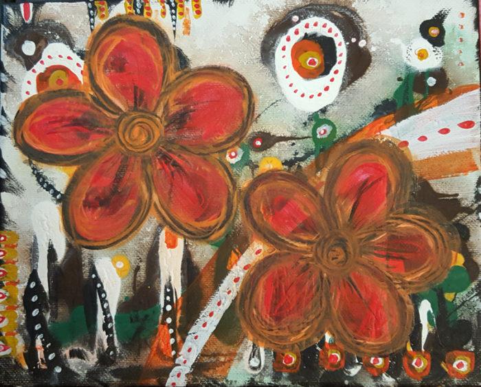 Orange Bloom Painting by Kristy Lewellen