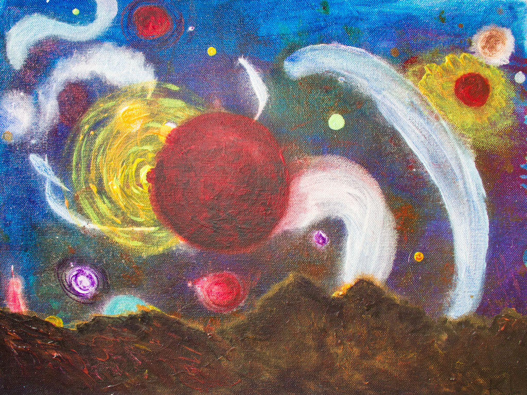 Red Moons painting by Kristy Lewellen