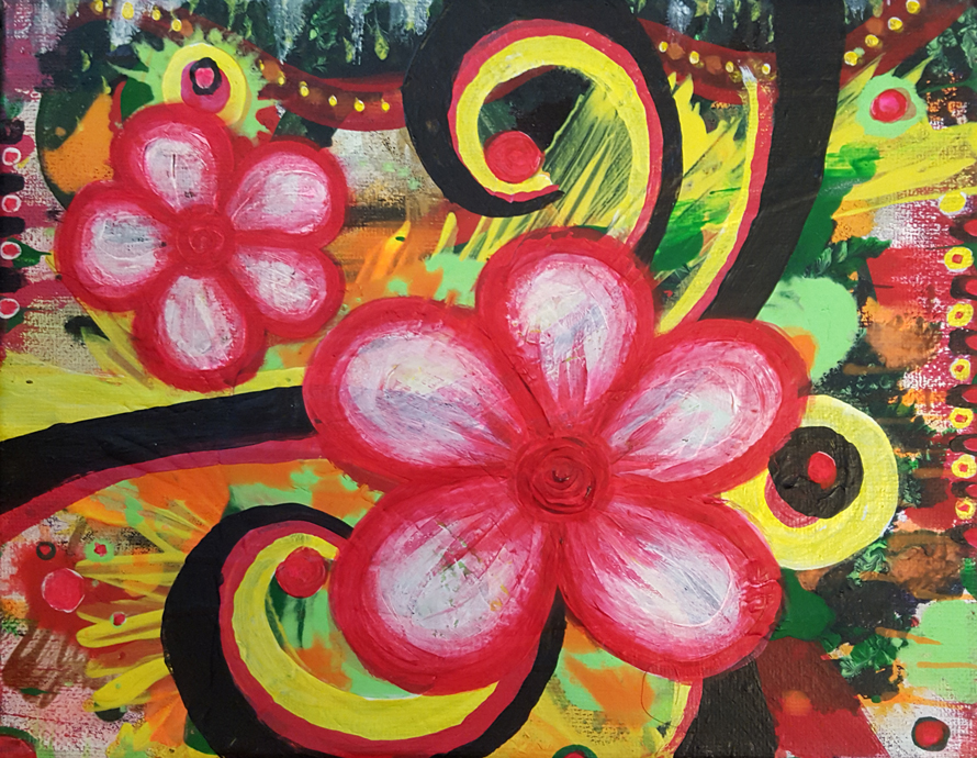 Two Bloom - Painting by Kristy Lewellen