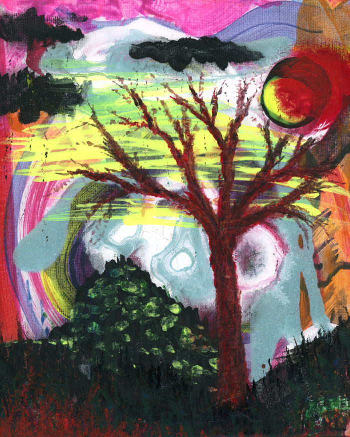 Original Acrylic Painting Yellow Moon by Kristy Lewellen