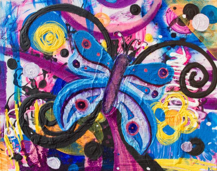 Blue Butterfly Painting by Artist Kristy Lewellen